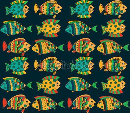 Скачать - Яркие декоративные рыбы рука нарисованные вектор — стоковая иллюстрация #135684482