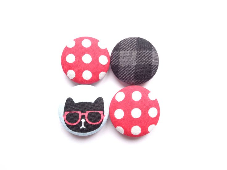 Cat Magnets, Polka Dot Magnets, Lumberjack Magnets, Red Magnets, Black Magnets, Refrigerator Magnets, Fridge Magnets, Ecofriendly Magnets by BijouxMariePuce on Etsy