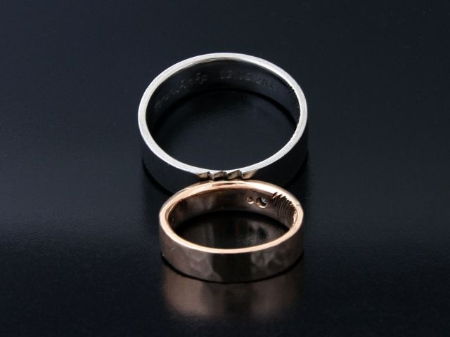 Rings by Bielak  lightely engraving palladium  hammering pink gold  profile: C shape  2x white diamond