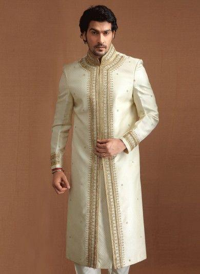 Off White Banaras Silk Jacquard and Art Dupion Silk Sherwani and Churidar