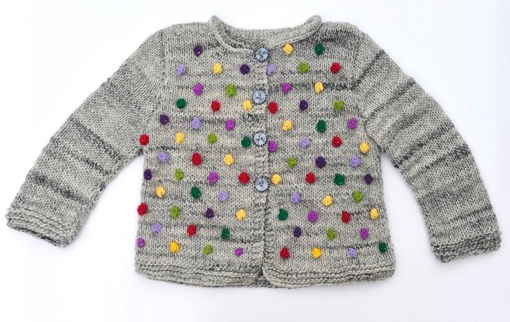 Girls sweater / jacket knitted cardigan grey wool winter warm knitting Red Purple Yellow Green Bobbles