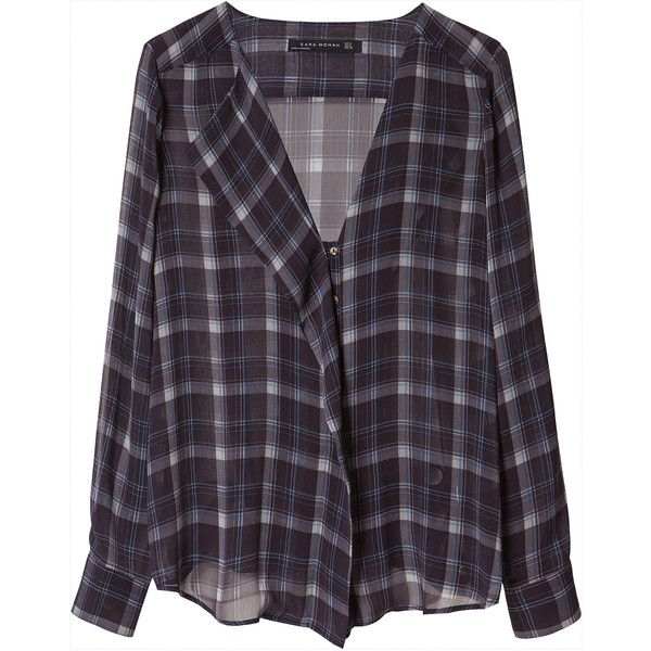 Zara Checked Shirt (100 HRK) ❤ liked on Polyvore featuring tops, blouses, shirts, flannels, navy blue, navy blue checkered shirt, flannel shirts, zara shirt, purple checked shirt and purple top