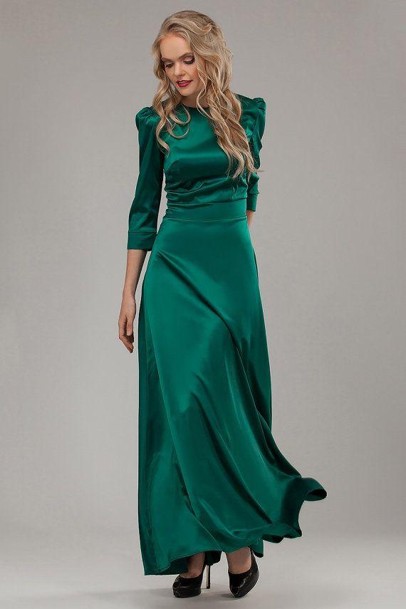 Maxi green dress Satin dress Maxi dress long by AliceBerryFashion
