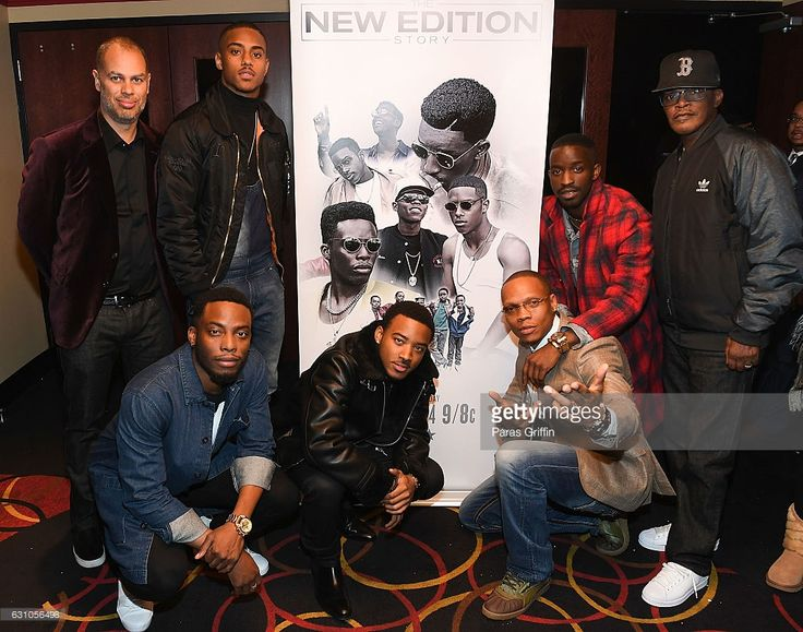 Jesse Collins, Keith Powers, Woody McClain, Algee Smith, Ronnie Devoe, Elijah Kelley and Brook Payne attend BET's Atlanta screening of 'The New Edition Story' at AMC Parkway Pointe on January 5, 2017 in Atlanta, Georgia.