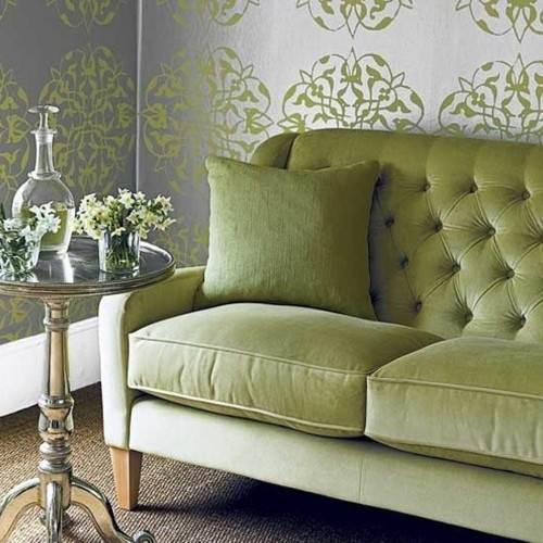 velvet tufted sofa | incredible walls