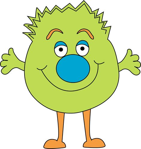 free cute monster clip art | Funny Green Monster Clip Art Image - bright green monster with a fuzzy ...