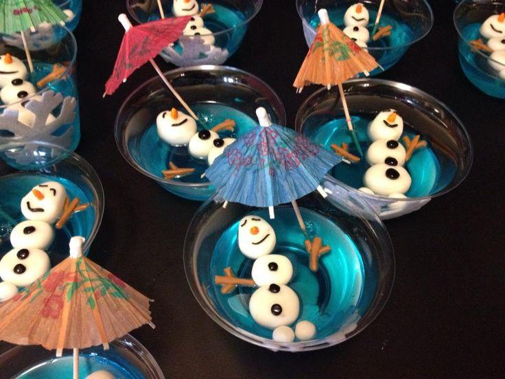 Blue Jell-o treats. Olaf in the summer