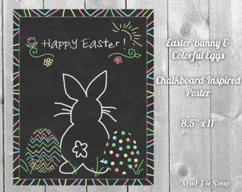 easter chalkboard designs | Easter Bunny Chalkboard Eggs Poster