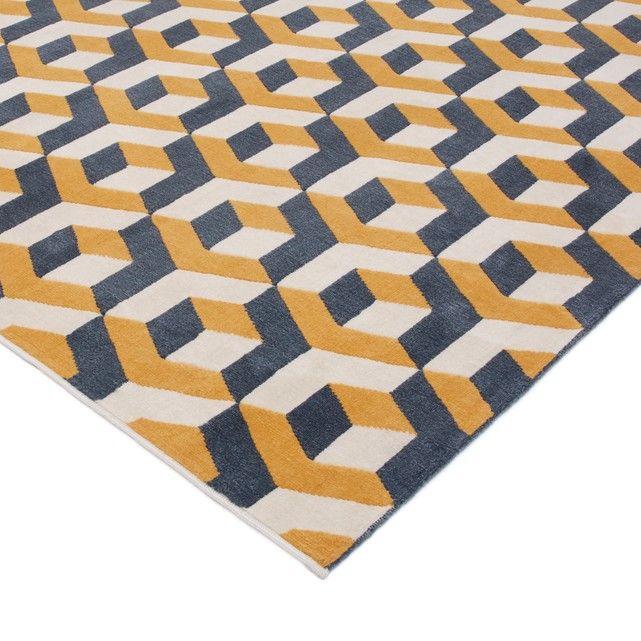 Zilfa Geometric Patterned Rug Yellow Blue White La Redoute