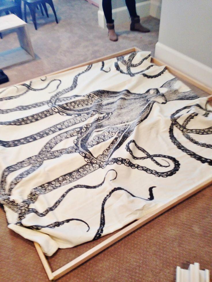 DIY ART   octopus shower curtain hung tight on frame  6th Street Design School   Kirsten Krason Interiors : DIY Octopus Art