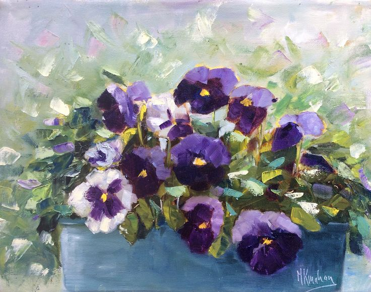Pansies in my window box.  Oil on canvas.