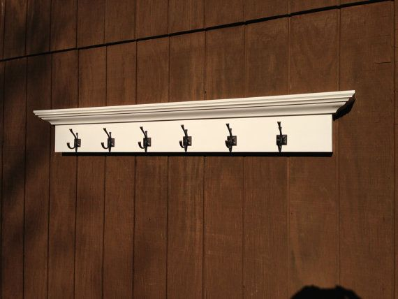 Large white entry way coat rack with 6 hooks 5 foot wall White wooden coat hooks