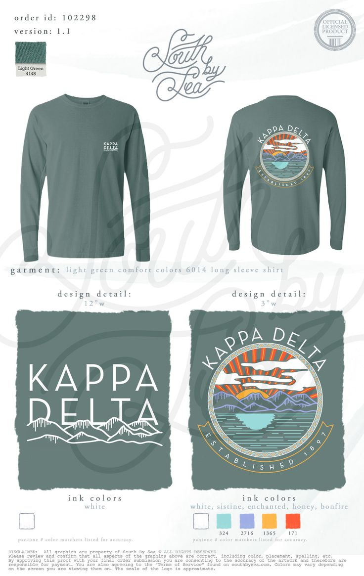 Design t shirt long sleeve - Kappa Delta Kd Sunset Long Sleeve T Shirt Design Mountains T