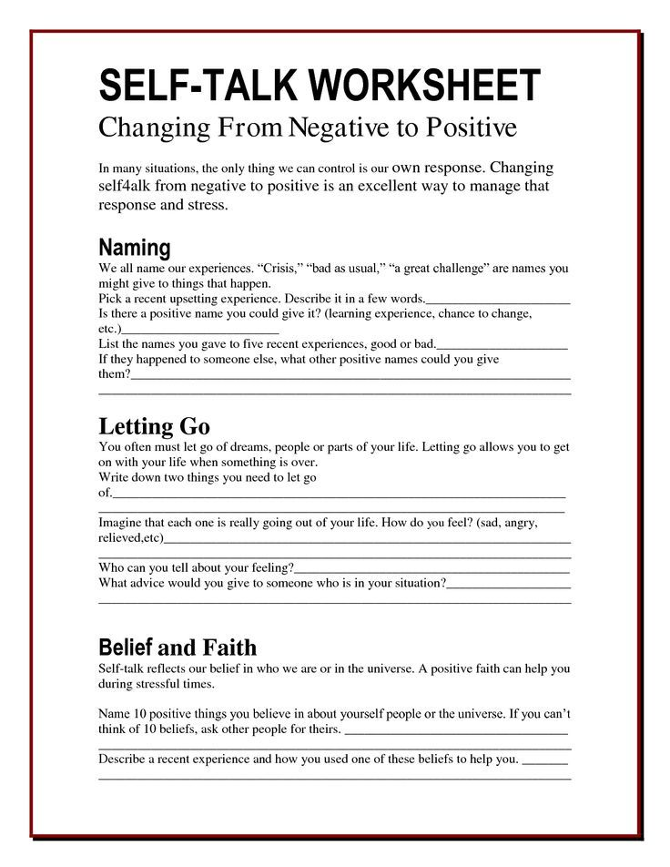 Worksheets Positive Thinking Worksheets 25 best ideas about self esteem worksheets on pinterest the worry bag talk worksheet healing path with children