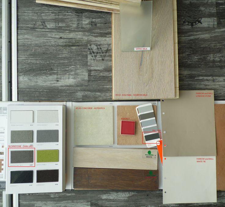 2013_06_BAJ - wooden floor ESCO Kolonial, smoked white, wall color FARROW a BALL White Tie, London Stone; kitchen tiling ATLAS CONCORDE Autentica, color Tropea with red squares BARDELI