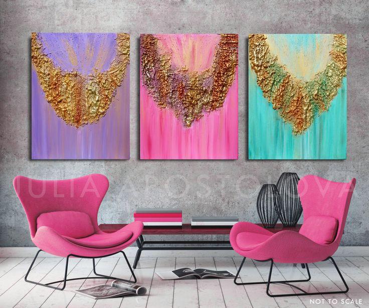 #Original #Painting, #Abstract #art #AbstractPainting, #Triptych, #SculptureArt, #MixedMedia, #Modern #WallArt #Decor, #Copper, #Gold #HomeDecor by  #JuliaApostolova on #Etsy #interior #design #designer #homedecor #homeart #artdecor