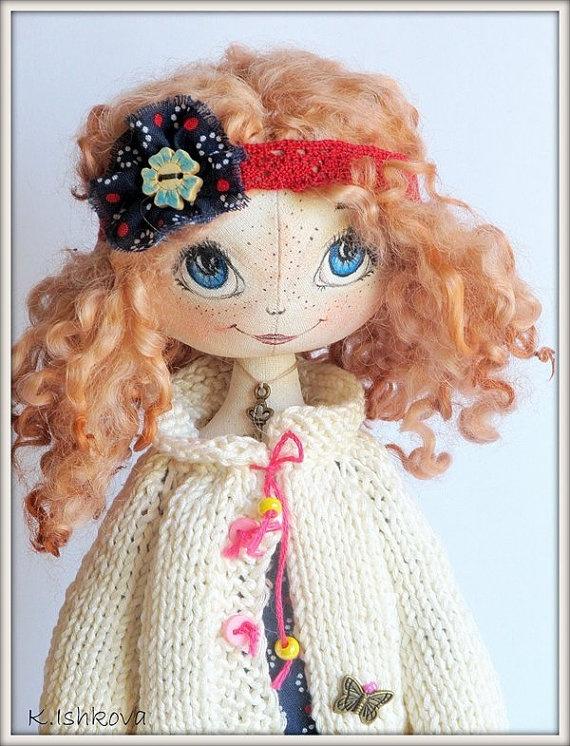 Textile cloth doll Lali Redhead art chestnut by ArtDollsByKseniya