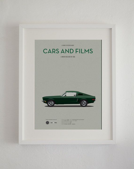 Bullitt car movie poster art print A3 Cars And Films home decor prints car print