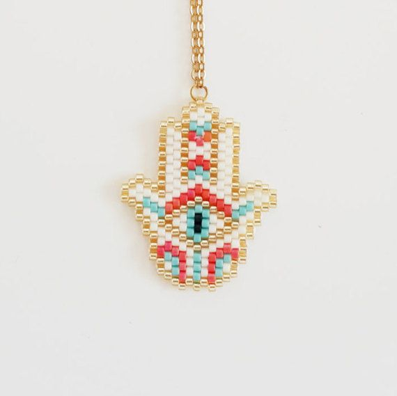 Hamsa Necklace Charm Bohemian Beaded Pendant