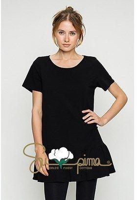 B-Sharp Collection Supima Cotton Top Casual Short Sleeve Black Tunic Ruffle Bottom.