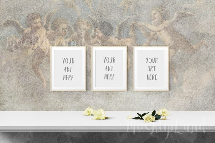 Wonderful Angel theme/ Fresco wall mock up for displaying your art!Because of the size of the mock up is large you are able to integrate into your webpage or re-size and add to your store.Much place around frames to add any additional text!Your Download:PNG file, with transparency : 1500 px X 1000 p