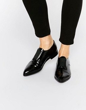 Pieces Jasmina Black Elastic Front Pointed Flat Shoes