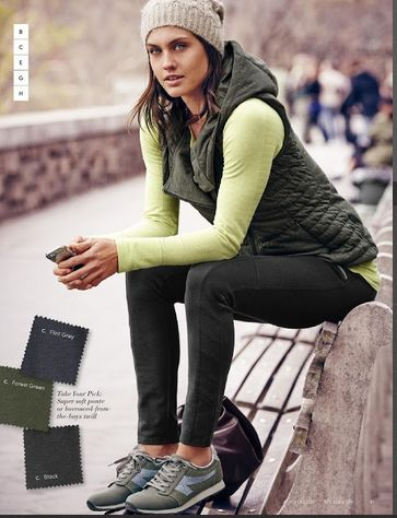 everyday fitness wear, girl on the go, puffy vest and beanie, athleta