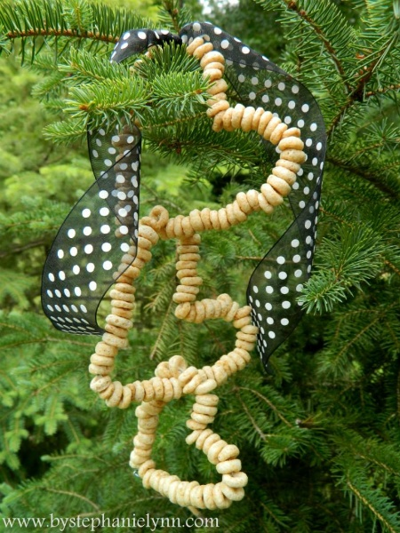 Cheerios on wire as bird feeders