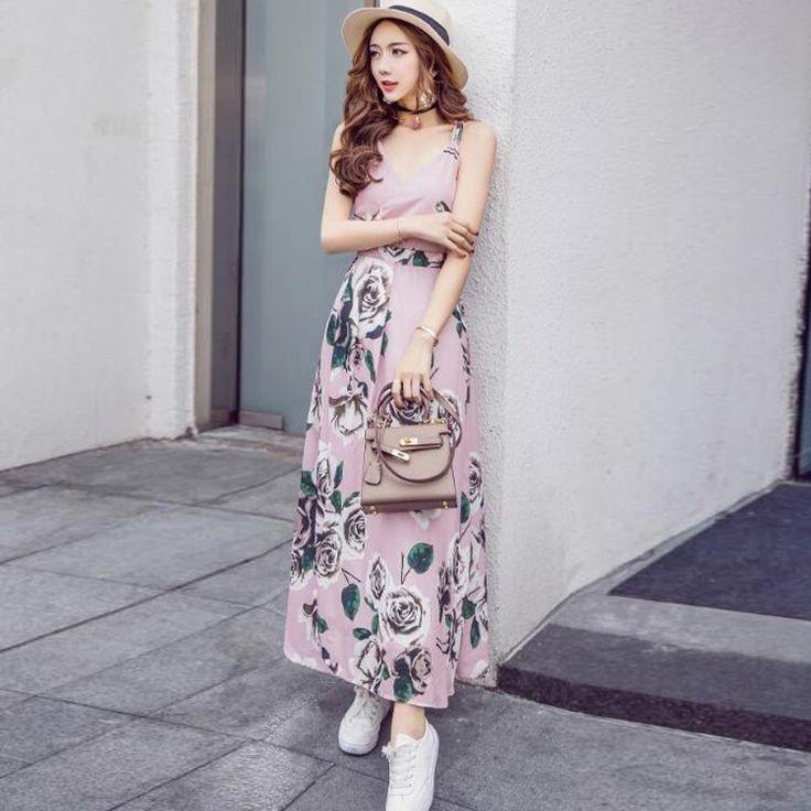 Pink Cross Back Floral Dress