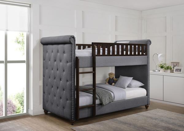 Ava Children S Dark Grey Linen Fabric Chesterfield Bunk Bed Bunk