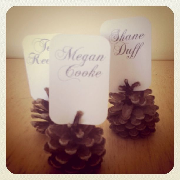 Winter Wedding DIY: Glitter Pine Cone Place Cards #DIY #wedding #winter wedding