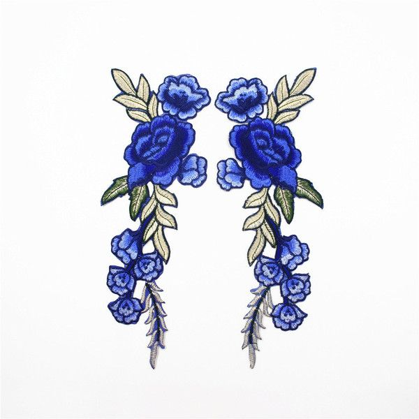 Spiegel bloem Patches, blauwe bloem stoffen, oranje bloem Patches,... ($11) ❤ liked on Polyvore featuring accessories