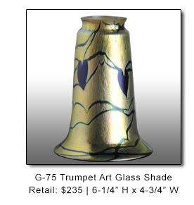 Craftsman Trumpet Shape Art Glass Lamp Shades by Lundberg Studios