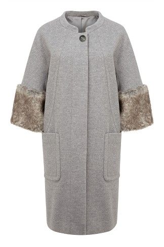 Fur Cuffed Cocoon Coat