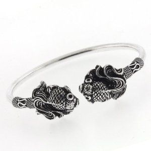 .925 Sterling Silver Woman's Fish Charm Adjustable Bracelet BeeLuxury Jewelry Collection. $45.95