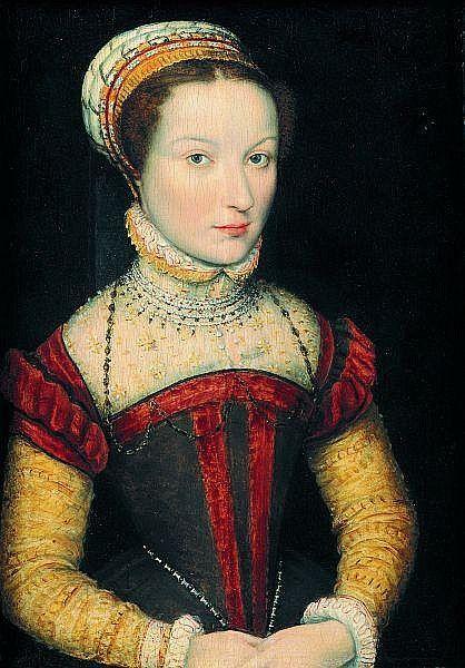 Corneille de LYON (La Haye début du XVIe siècle - Lyon vers 1574) Portrait de jeune femme à la robe ornée de colliers de perles