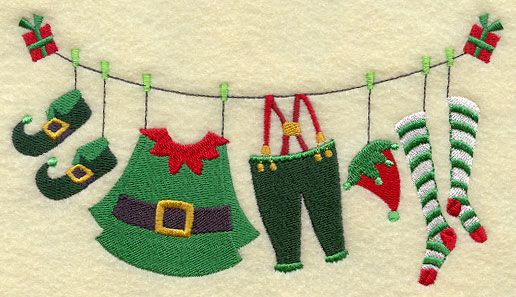 Machine Embroidery Designs at Embroidery Library! - Christmas Elf Clothesline