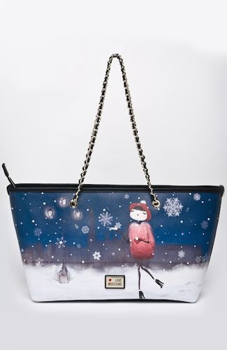 Love Moschino bag Bag with winter landscape print, zipper closure, straps with leather and chain, inner pocket. 42 cm width at the top. 100%POLYVINYL CHLORIDE Code: JC4073PP1JLK0