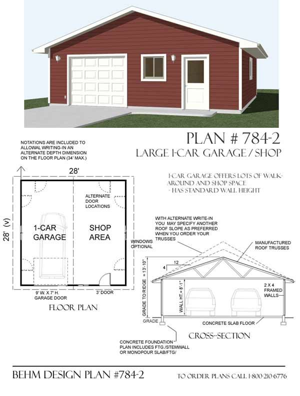 Garage with shop plan 784 2 by behm design garage plans for Design your own garage plans free