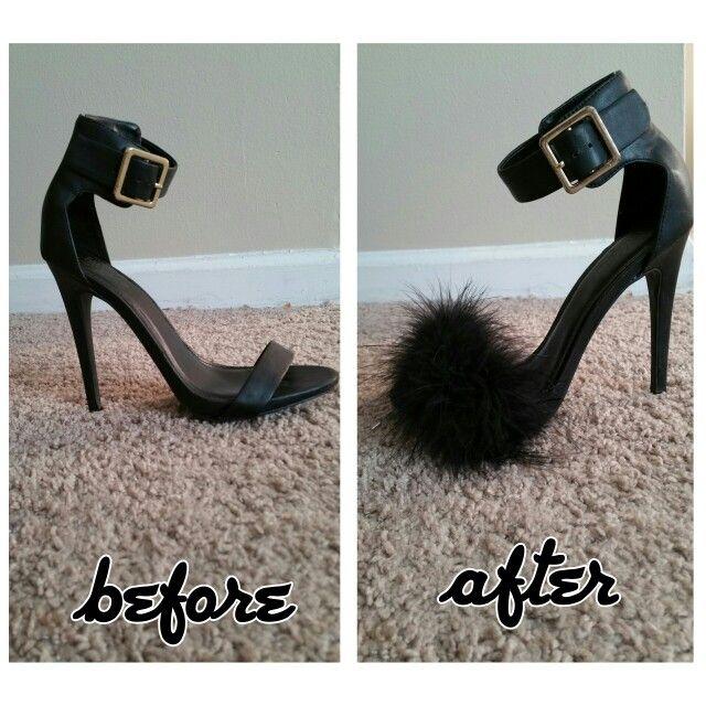 DIY Faux Fur Heel Sandals shoes @brilovesscott12