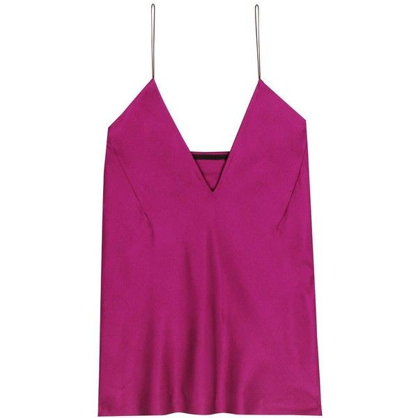 Haider Ackermann Silk Camisole (955 AUD) ❤ liked on Polyvore featuring intimates, camis, tops, purple, silk cami, purple cami, haider ackermann, silk camisole and purple camisole