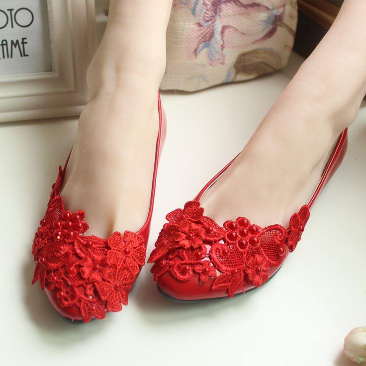 Cheap Pompe a mano del fiore del merletto dell'arco damigella d'onore nuziale scarpe tacco alto bianco/rosso scarpe da sposa sposato delle donne calza il trasporto libero, Compro Qualità Pompe delle donne direttamente da fornitori della Cina: