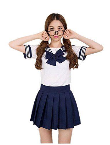 JJPUNK Schulmädchen Kostüm Dienstmädchen Cosplay Schülerin Outfit School Uniform Karneval Fasching