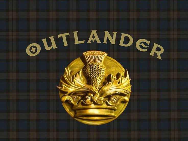 Outlander thistle symbol on Fraser tartan plaid by Sassenach616