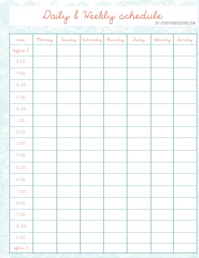 daily / weekly schedule template - More Schedule Templates at website