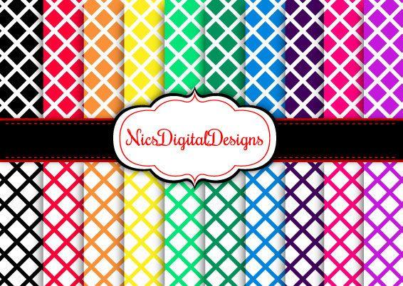 Buy 2 Get 1 Free-20Digital Papers. Trellis Pattern in Rainbow