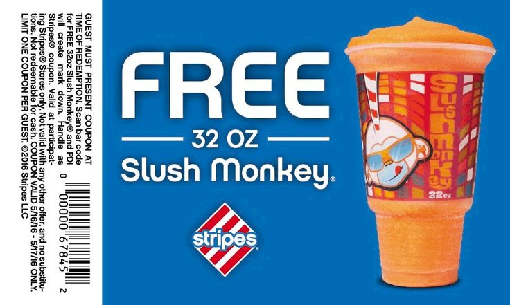 Pinned May 17th: Free 32oz slushie today at #Stripes gas stations #coupon via The #Coupons App