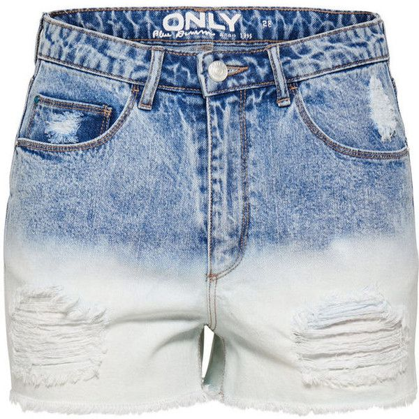 DESTROYED DIP DYE DENIM SHORTS ($46) ❤ liked on Polyvore featuring shorts, jean shorts, high rise jean shorts, high waisted jean shorts, high rise shorts and high waisted ripped shorts