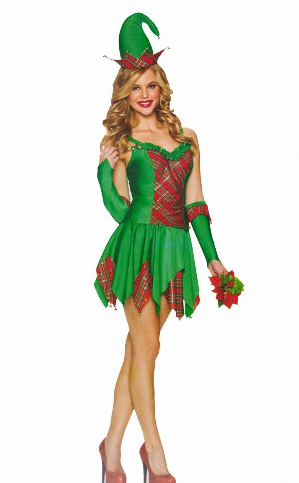 Women's costumes Carnival elfin green red