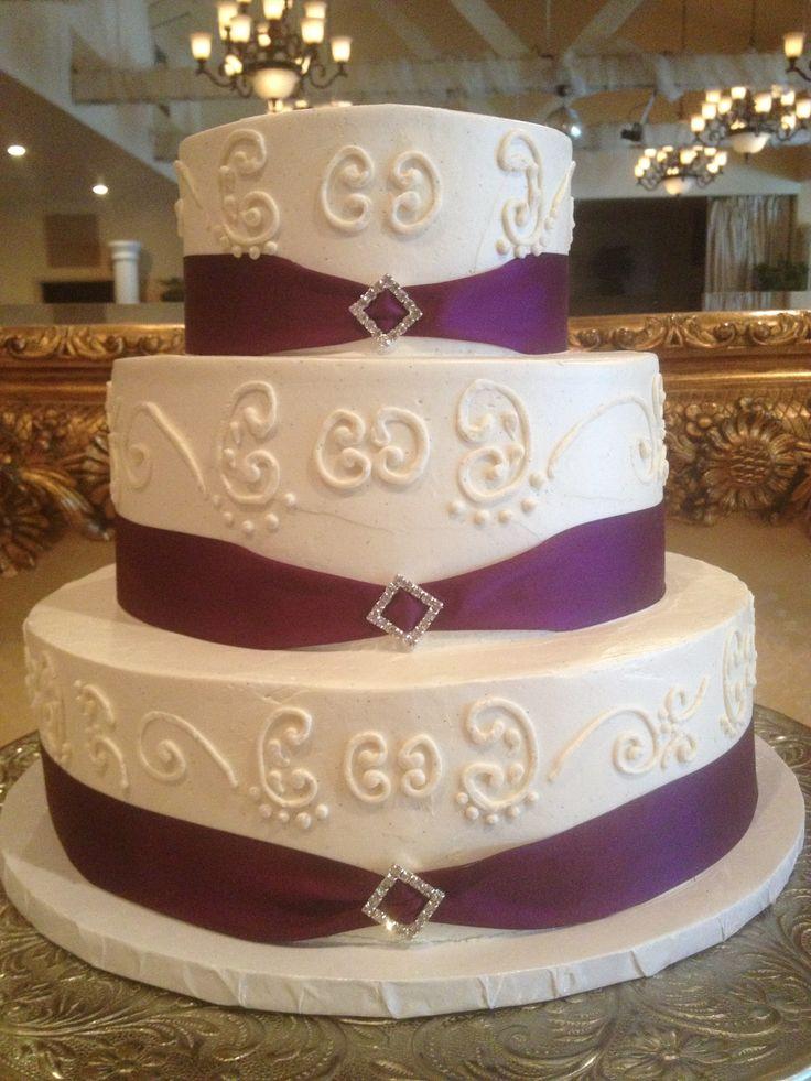 plum purple ribbon border with rhinestone decoration buttercream wedding cake with scroll work. Black Bedroom Furniture Sets. Home Design Ideas